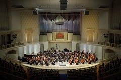 Orchestra sinfonica del conservatorio della condizione di Mosca Immagini Stock Libere da Diritti