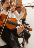 Orchestra string section performing Royalty Free Stock Photography
