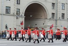 Orchestra of Switzerland on parade of participants of international festival of military orchestras Royalty Free Stock Photography
