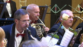 An orchestra of wind instruments .editorial stock footage