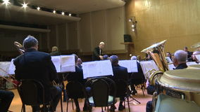 """An orchestra of wind instruments .editorial. VOLOGDA.RUSSIA. 17 FEBRUARY 2015.An orchestra of wind instruments . """"Classic-modern band"""