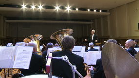An orchestra of wind instruments .editorial stock video