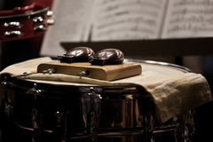 Orchestral castanets. In a symphony orchestra Stock Photography