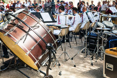 Orchestral drums. Orchestra performance in park in Paris. Royalty Free Stock Images