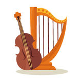Orchestral harp and violoncello isolated on white background. Theatrical musical instruments for symphonic concerts. Traditional violin and harp vector logo Stock Image