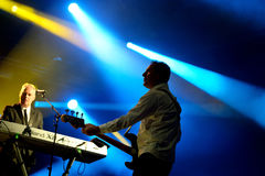 Orchestral Manoeuvres in the Dark, also known as OMD,  band in concert Royalty Free Stock Image
