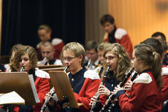 Orchestre de laiton d'années de l'adolescence Photo libre de droits