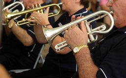 Orchestre de trompette de rue photographie stock