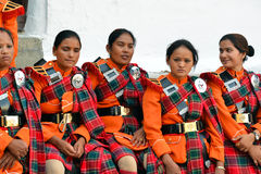Orchestre militaire népalais Photographie stock