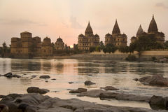 Orchha Cenotaphs - India. The Cenotaphs (chhatris) of the Bundela Kings by the Betwa River at Orchha in the state of Madhya Pradesh in central India Royalty Free Stock Images