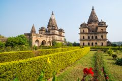 Orchha Cenotaphs, sunny day vleear blue sky, Moghul gardens. Also spelled Orcha, famous travel destination in India. Orchha Cenotaphs, sunny day vleear blue sky Stock Photos