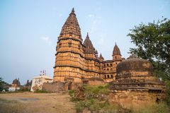 Orchha cityscape, hindu Chaturbhuj temple. Also spelled Orcha, famous travel destination in Madhya Pradesh, India. Orchha cityscape, hindu Chaturbhuj temple Royalty Free Stock Images