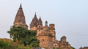 Orchha cityscape, hindu Chaturbhuj temple. Also spelled Orcha, famous travel destination in Madhya Pradesh, India. Orchha cityscape, hindu Chaturbhuj temple Royalty Free Stock Photos