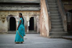 Orchha, India, November 28, 2017: Indian beauty wearing traditional. Clothes in Orchha Royalty Free Stock Image