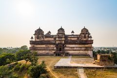 Orchha Palace, Madhya Pradesh. Also spelled Orcha, famous travel destination in India. Wide angle. Orchha Palace, Madhya Pradesh. Also spelled Orcha, famous Stock Image