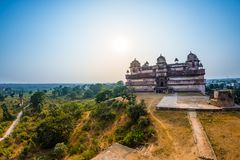Orchha Palace, Madhya Pradesh. Also spelled Orcha, famous travel destination in India. Wide angle. Orchha Palace, Madhya Pradesh. Also spelled Orcha, famous Stock Photos