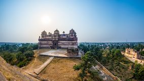 Orchha Palace, Madhya Pradesh. Also spelled Orcha, famous travel destination in India. Wide angle. Royalty Free Stock Images