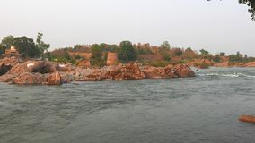 Orchha Palace, Madhya Pradesh, famous travel destination in India. Holy Betwa river flowing.  stock video