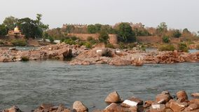 Orchha Palace, Madhya Pradesh, famous travel destination in India. Holy Betwa river flowing.  stock footage
