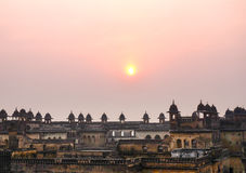 Orchha Palace, Rajasthan, India. The ruins of the Orchha Fort at dusk Royalty Free Stock Images