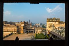 Orchha Palace, sunny day and blue sky, framed view, looking through window. Also spelled Orcha, famous travel destination in India.  Royalty Free Stock Photos