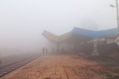 Orchha Railway station in thick morning fog Royalty Free Stock Image