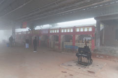 Orchha Railway station in thick morning fog Royalty Free Stock Images