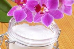 Orchidée avec le crem Photos stock
