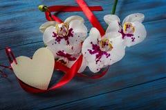 Orchidée et coeur blancs de branche Images stock