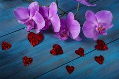 Orchidée et coeurs pourpres Image stock