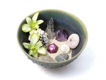 Orchidées, cristaux, interpréteurs de commandes interactifs, et pierres dans la cuvette en céramique fabriquée à la main Photo libre de droits