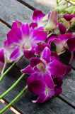 Orchidées roses sur la table en bois Photo stock