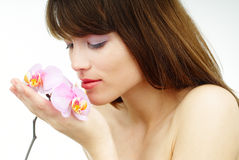 orchid γυναίκα στοκ εικόνες