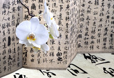 Orchid and antique calligraphy Stock Photos