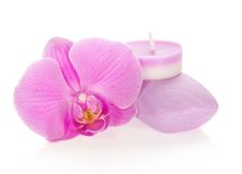 Orchid, aromatic candle and soap Stock Photo