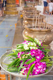 Orchid Buddhist Lent in Thailand. Activity people to use Orchid for Buddhist Lent in Thailand Royalty Free Stock Image