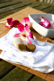 Orchid and candles for spa Stock Image