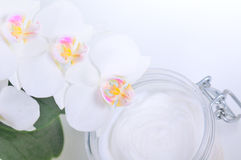 Orchid with cosmetics, cream. Stock Images