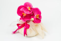Orchid in a fabric bag Stock Photo