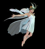 Orchid Fae CA. A graceful fairy with wings and wreath vector illustration