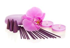 Orchid flower, aromatic set and soap Stock Images
