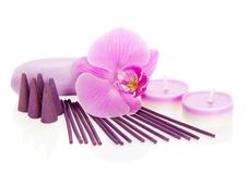 Orchid flower, aromatic set and the soap Stock Image