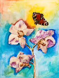 Orchid flower with butterfly painting Royalty Free Stock Photo