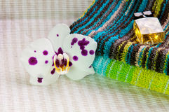 Orchid flower and cosmetic products Royalty Free Stock Image