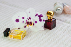 Orchid flower and cosmetic products Stock Photos