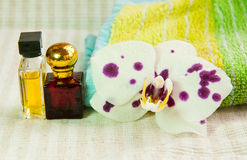 Orchid flower and cosmetic products Royalty Free Stock Photo