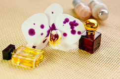 Orchid flower and cosmetic products Royalty Free Stock Photos