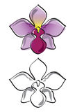 Orchid flower vector. Vector illustration of a purple orchid in colour and greyscale stock illustration