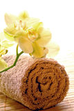 Orchid Flowers on Brown Cotton Towel in a Spa royalty free stock photo