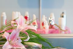 Orchid flowers and cosmetics Stock Image